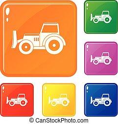 Skid steer loader icons set vector color