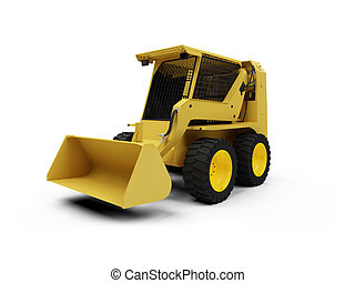 Skid steer loader - isolated skid steer loader on a white ...