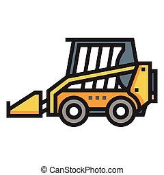 Skid steer loader Line Color illustration