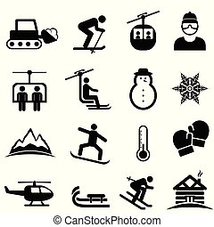skida, övervintra sportar, och, snö, ikonen