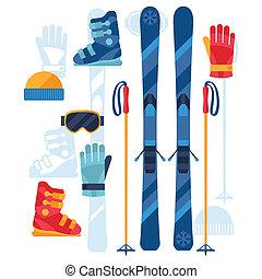 skien, uitrusting, iconen, set, in, plat, ontwerp, style.