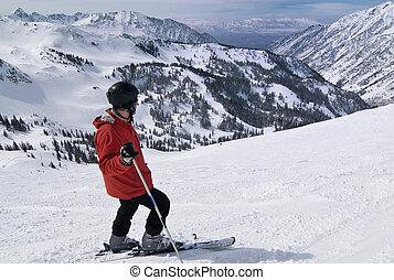 Skier at amazing ski resort - Wide angle shot of a skier...