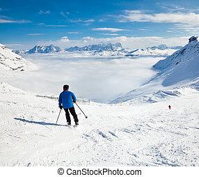 skier, auf, a, piste