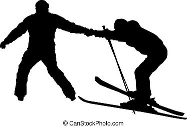 Skier   - Beginner skier silhouettes isolated