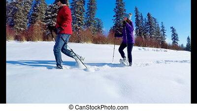Skier couple walking on snowy landscape 4k - Skier couple...