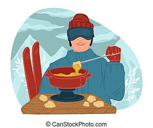 Skier eating hot creamy soup in resort outdoors