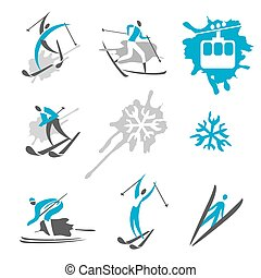 Expressive Icons and symbols of winter sport activities. Vector available.