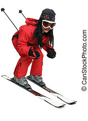 Skier - Female skier in red black and grey against white...