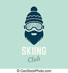 Skier head with beard in ski glasses vector icon