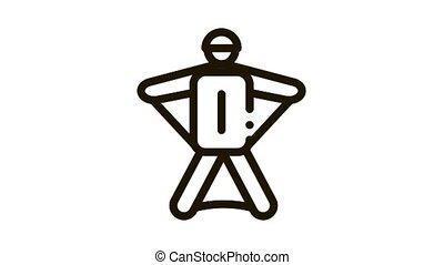 Skier Icon Animation. black Skier animated icon on white background