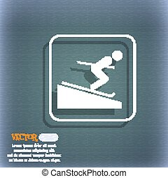 Skier icon. On the blue-green abstract background with shadow and space for your text. Vector