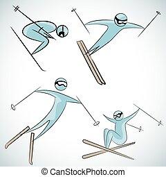 Skier Icon Set