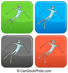 Skier Icon Set