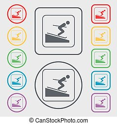 Skier icon sign. symbol on the Round and square buttons with frame. Vector