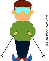 Skier, illustration, vector on white background.