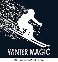 Skier illustration-Winter Magic