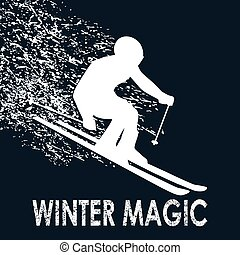 Skier illustration-Winter Magic