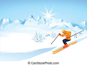 skier, in, hohe berge