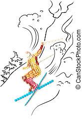 Skier in jump.
