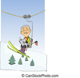 Skier in mountain lift read the book