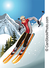 Skier in the mountain - A vector illustration of a skier ...