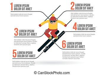 Skier infographic vector illustration