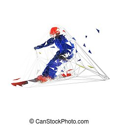 Skier, low polygonal geometric isolated vector illustration. Downhill skiing