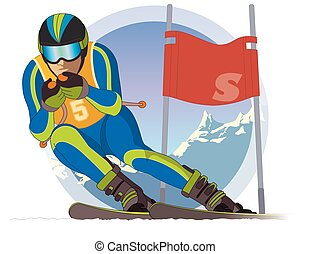 skier male, racing downhill with ski flag and mountains in the background
