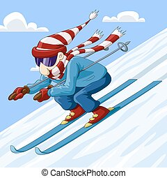 Skier - Man descends from the mountain on skis