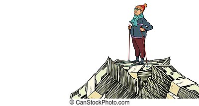 skier middle-aged man, Money dollars mountaintop. isolate on white background. Pop art retro vector illustration vintage kitsch