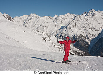 Skier mountains in the background