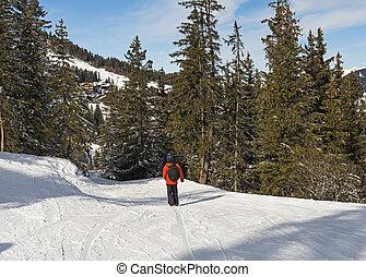 Skier on a piste in alpine ski resort