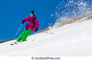 Skier on a sky background