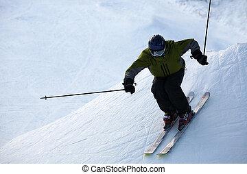 Skier on a slope at lake tahoe, california