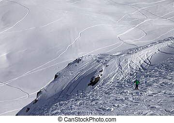 Skier on off-piste slope. Caucasus Mountains. Georgia, ski...