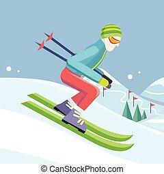 Skier on Slope Vector Illustration in Flat Design