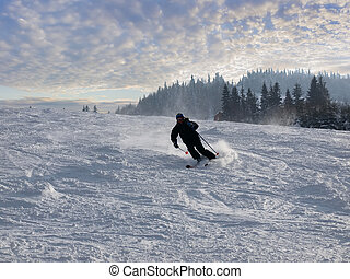 Skier on the ski piste