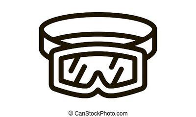 skier protective glasses Icon Animation. black skier protective glasses animated icon on white background