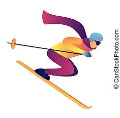 Skier riding downhill vector illustration.