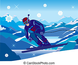 skier, schuin, dons, van, de, heuvel