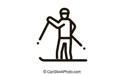 skier skiing Icon Animation. black skier skiing animated icon on white background