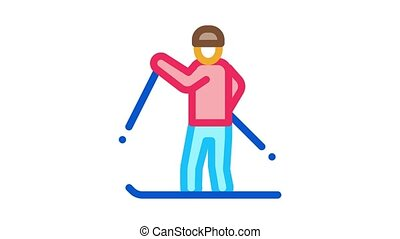 skier skiing Icon Animation. color skier skiing animated icon on white background