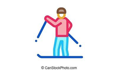 skier skiing Icon Animation. color skier skiing animated icon on white background