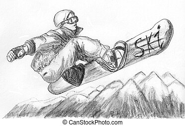 skier skiing illustration,on paper
