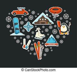skier, snowboard, cluburlaub, posten, extrem, wintersport,...