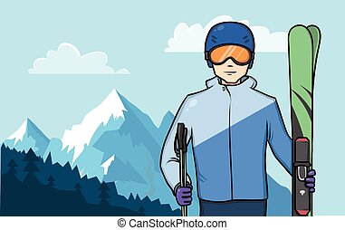 Skier standing on a background of a mountain landscape. Extreme winter sport. Vector Illustration.
