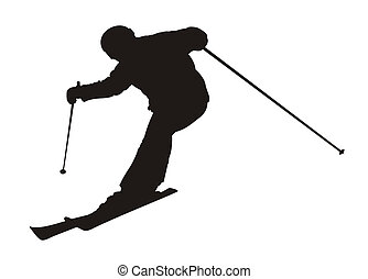 skier - Black silhouette of the skier on a white background