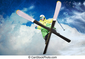 skier - A skier on the piste in Alps,  Europe.