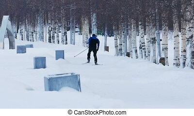 Skier Training in Winter Day, Petrozavodsk, Karelia, Russia