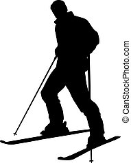 Skier   - Skier silhouette isolated